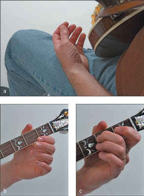 Getting a good left-hand position: Relaxing the left hand (a), positioning the thumb to get ready t