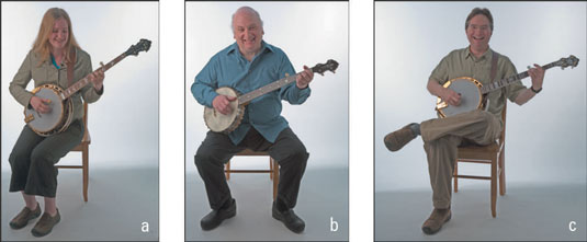 Erin (a), Jody (b), and Bill (c) show three different ways to enjoy playing the banjo while sitting.