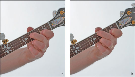 Here's how your hand looks fretting the D7 (a) and C (b) chords. Note the position of the thu