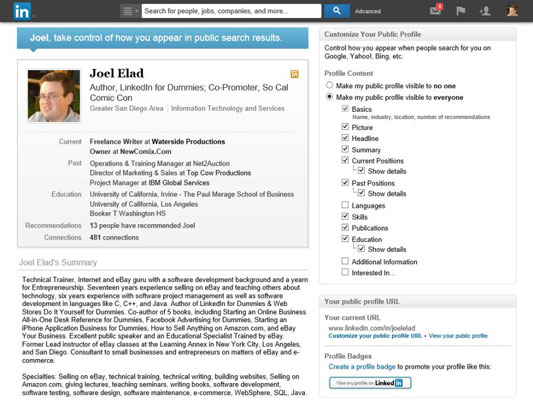 4scroll down the profile content section on the page and determine what parts of your linkedin profile you want available for public viewing - Make Profile
