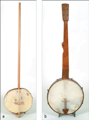 A West African banjo (called an <i/></noscript>ekonting) (a) and a late 19th century American banjo (b). [C&#8221;/> <div class=