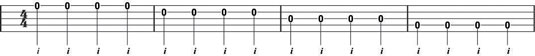 Clawhammer right-hand melody note exercise 1.