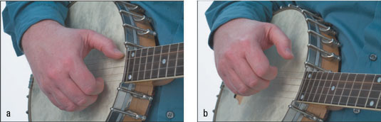 Bringing the thumb to rest against the 5th string (a); raising the hand off of the banjo head (b).