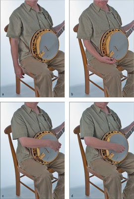 Follow these steps to find a good right-hand bluegrass position. [Credit: Photographs by Anne Hamer