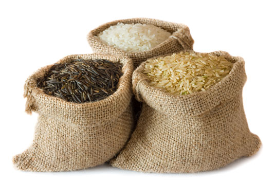 Bags of brown, white and wild rice.