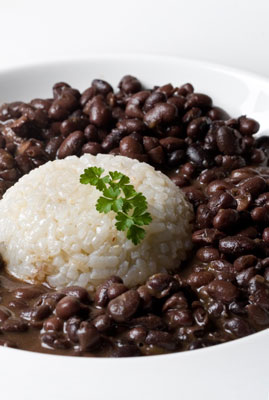 A bowl of beans and rice.