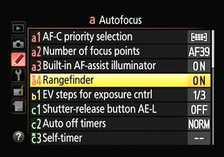 The Autofocus menu on a Nikon D5300