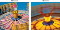Two photos of the same carnival ride taken with different shutter speed.