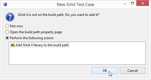 Eclipse asks you if you want to include the JUnit classes and methods as part of your JUnit test case.