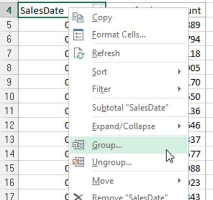 Create Pivot Table Views by Month, Quarter, Year for Excel
