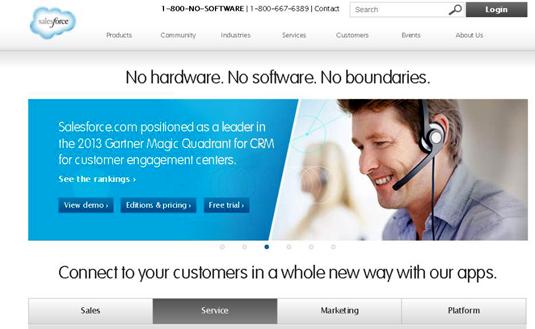 Salesforce's website has intuitive navigation.