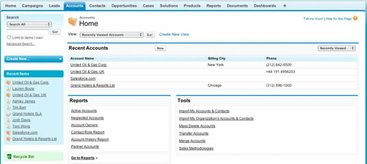 Deconstructing the Salesforce tab home page.