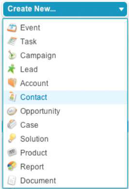 Creating Salesforce records by using the Create New drop-down list.