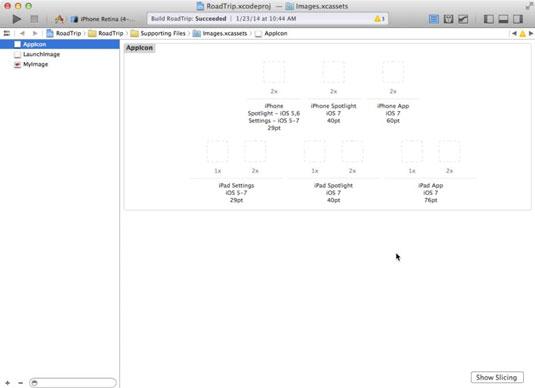 An open app design in Xcode.