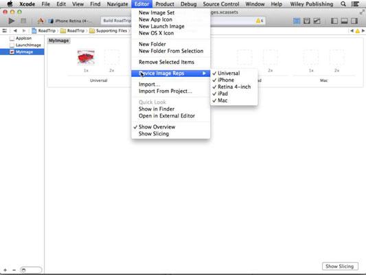 The Editor drop down menu in Xcode.