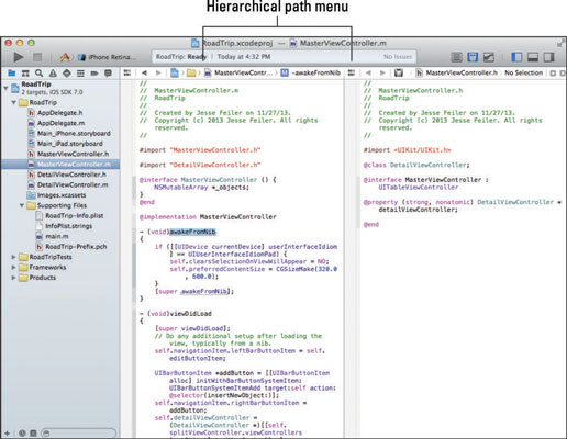 The hierarchical path menu in Xcode.
