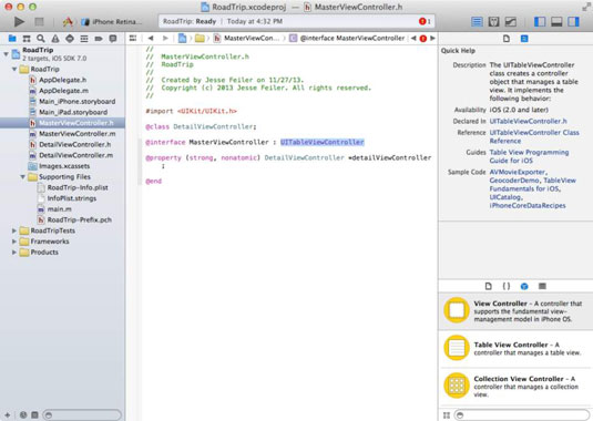 The Xcode Workspace with the quick help menu on the right side.