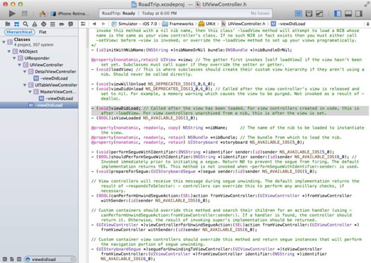 Results of a search in an Xcode app project.