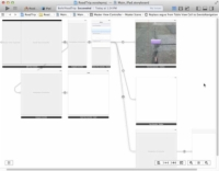 An app's storyboard in Xcode.