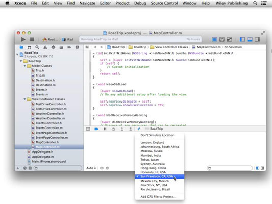 The Xcode workspace in a Mac.