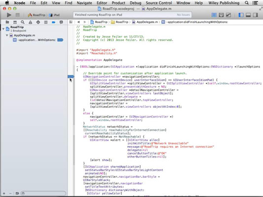 An iOS app statement open in Xcode.