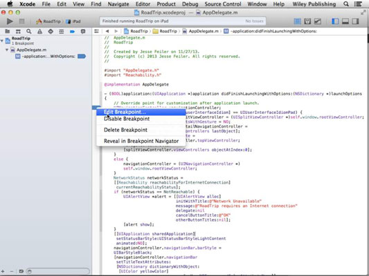 The shortcut menu that appears when you control-click the breakpoint in an open app statement.