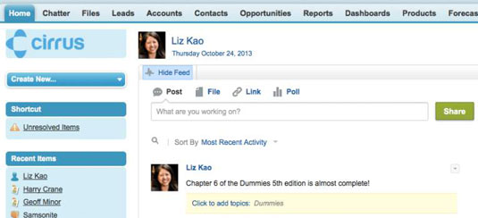 Viewing your Chatter feed in Salesforce.