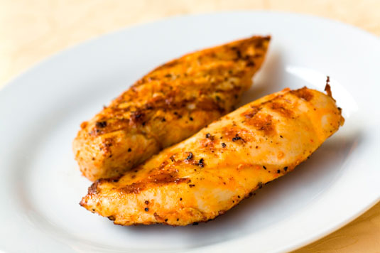 Roasted chicken cutlets.