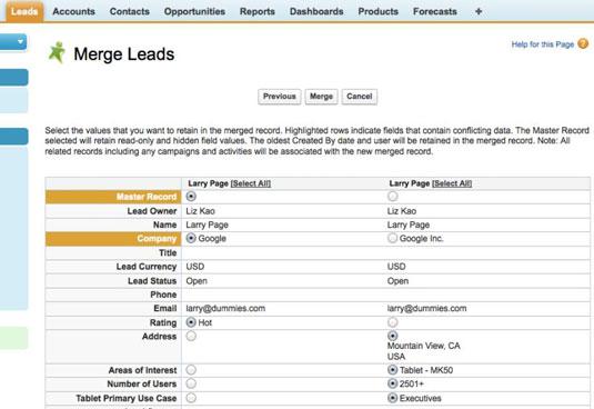 Merging duplicate lead records.