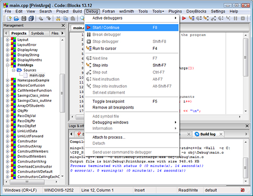 Figure 4: Start (or resume) execution of your program using the Debug-->Start/Continue menu opti