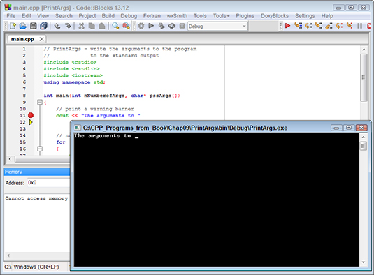 Figure 6: Executing the Next Line command causes the debugger to execute one line in the program.