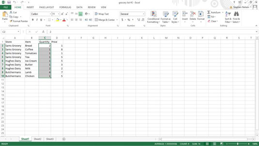 An open table in Microsoft Excel.