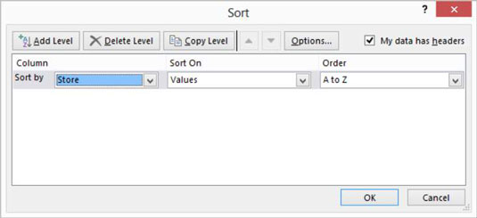 Excel's Sort and Filter dialog box.