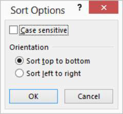 The Sort Options dialog box in Microsoft Excel.