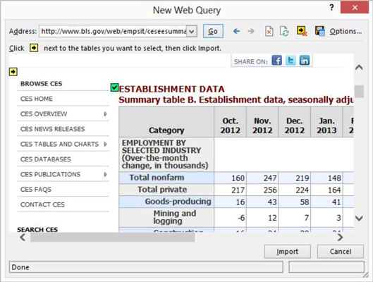 2tell excel that you want to run a web query by choosing the data tabs get external data from web command