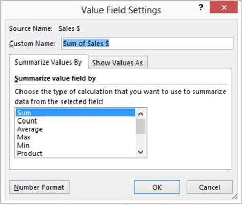 How to Set Value Field Settings in an Excel Pivot Table - dummies