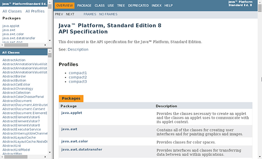 Figure 1: The API documentation's main page.