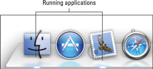 The Dock identifies running apps with a glowing dash.