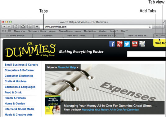 Tabbed browsing lets you juggle multiple web pages inside a single window.