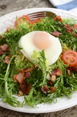 Chicory and poached egg salad.