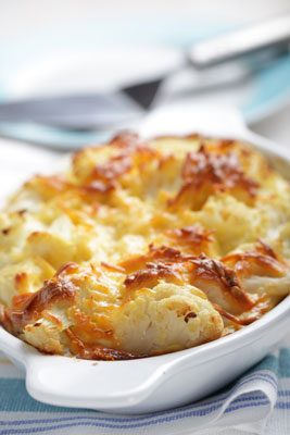 A casserole of cauliflower au gratin.