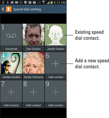 Speed dial setting screen on Samsung Galaxy Note.