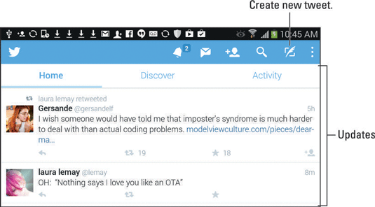 Twitter app's main screen, which shows the current tweet feed.