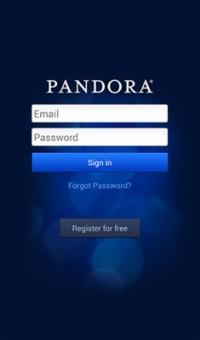 The Pandora app home screen.