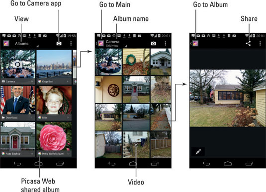 basics of the photo gallery on an android phone dummies