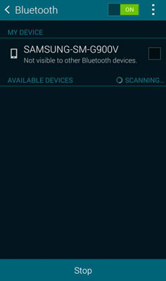 Bluetooth screen on an Android, where you can sync the phone with other devices.
