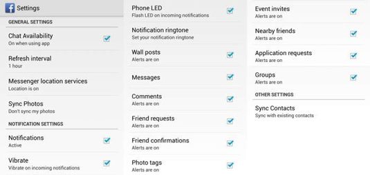 All of the Setting options for Facebook that you can customize.