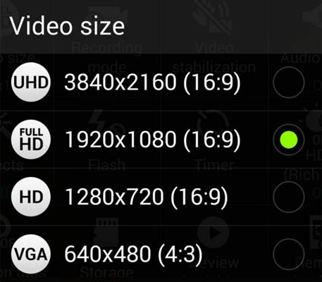 All possible video size/resolution to save videos.
