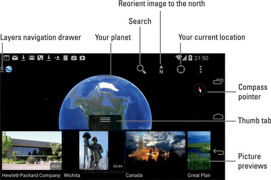 The Earth App on Your Android Phone - dummies on gmail android, google android, chrome android, game android, evernote android, skype android,
