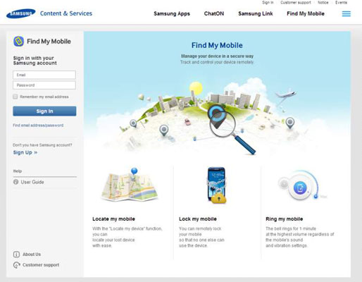 Samsung Find my Mobile site where you can locate your phone or lock it.